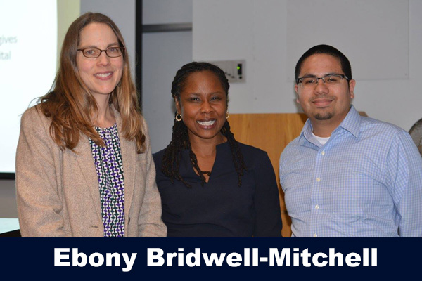 Ebony Bridwell-Mitchell with Morgaen Donaldson and Robert Cotto